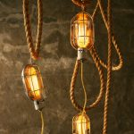 Industrial Cool Hanging Light Idea With Traditional Rope Suspension And Transparent Shade