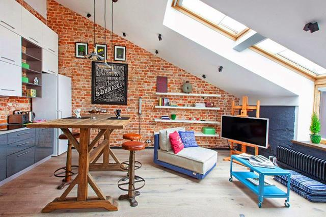 Interior With Loft Idea Of Living Room With Red Brick Wall And Skylight And  Blue Accet
