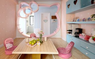 large-pink-hellokitty-wall-mirror-with-soft-brown-floor-and-table-also-pink-hellokitty-chairs-and-blue-cupboards-also-white-door-and-hellokitty-doll