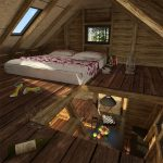 large-white-bed-under-two-windows-in-the-loft-of-pentagon-cabin-plans-with-brown-wooden-floor
