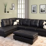 living room idea with black leather sectional sofa design with storage coffee table and white area rug and gray siding paint and glasswindow