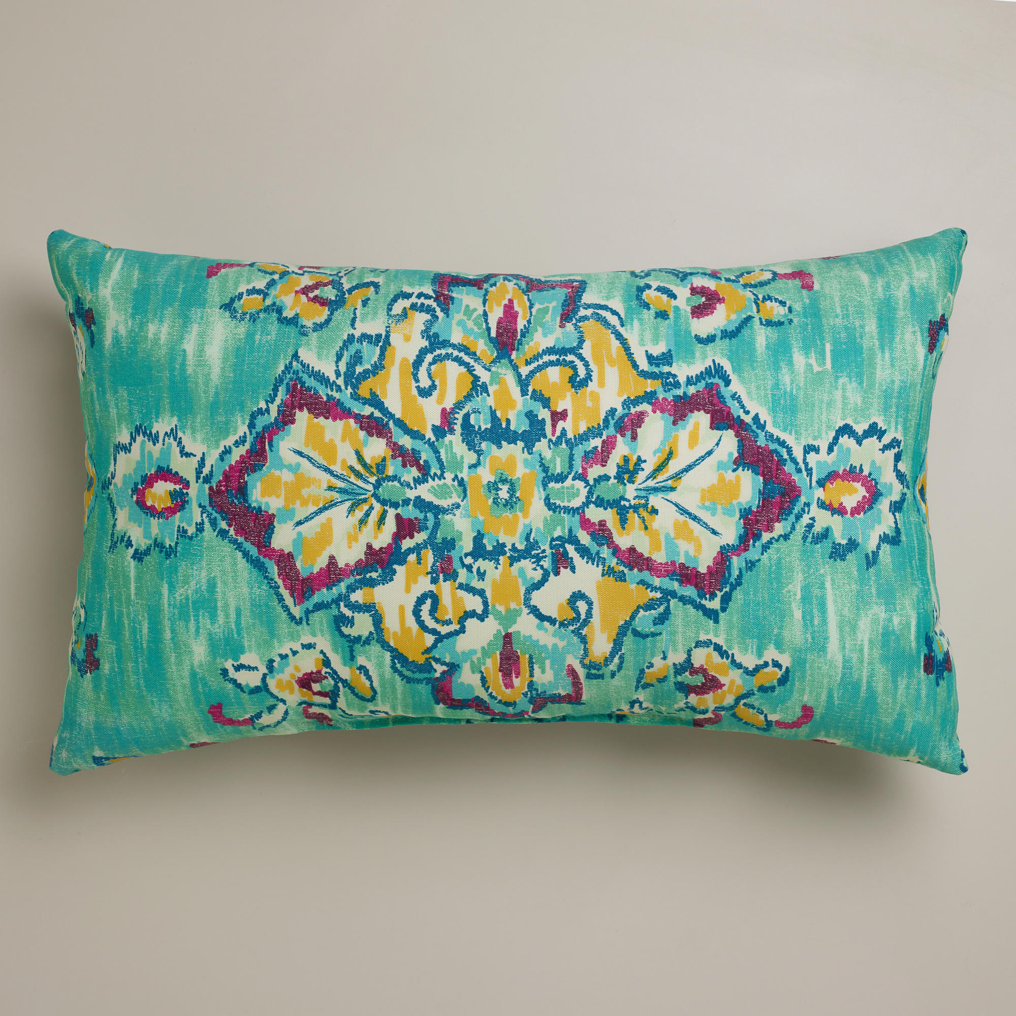 Lovable Blue Ethnic Target Outdoor Cushion Idea In Rectangle Shape With  Yellow And Purple Color Accent