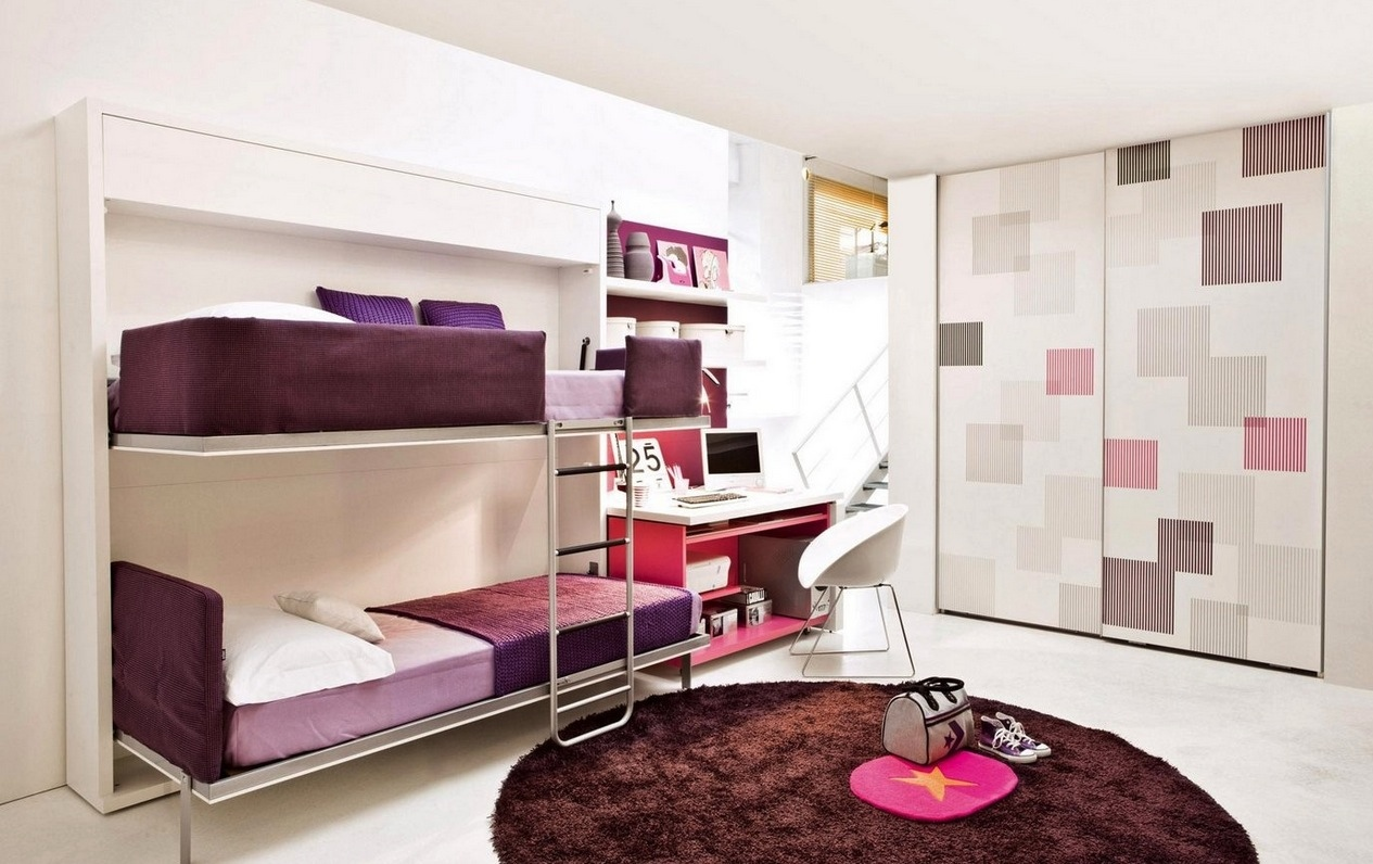 Lovable Brown And Purple Convertible Bunk Bed Idea With Plaid Accent Wall  Partition And Round Brown