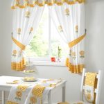 lovable white jcpenney kitchen curtain design with yellow accent and sleeve and tied model and fruity pattern