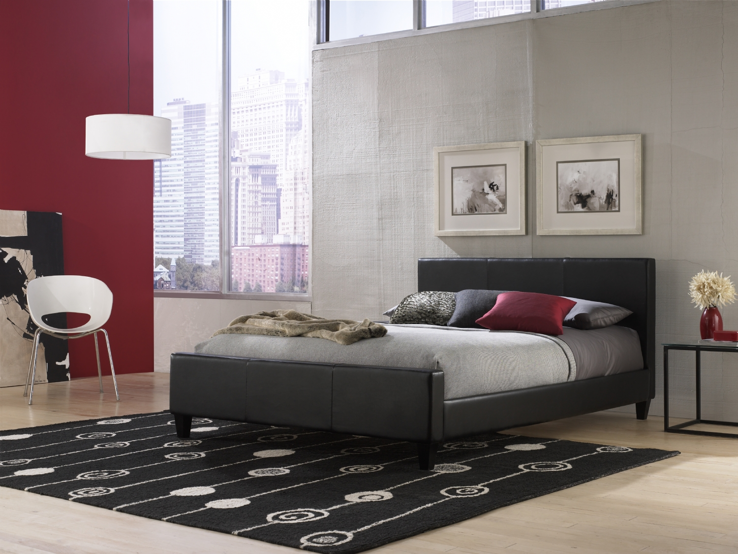 low profile platform bed frame in bedroom decorating ideas with silver bedding and black modern rug
