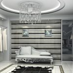luxurious bronze dressing room idea with suspended ceiling and long chaise with wall wardrobe storage and black area rug