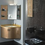 luxurious golden painted corner vanity set idea beneath corner wall mirror with racks with leather bench and tuft pattern beneath black wall