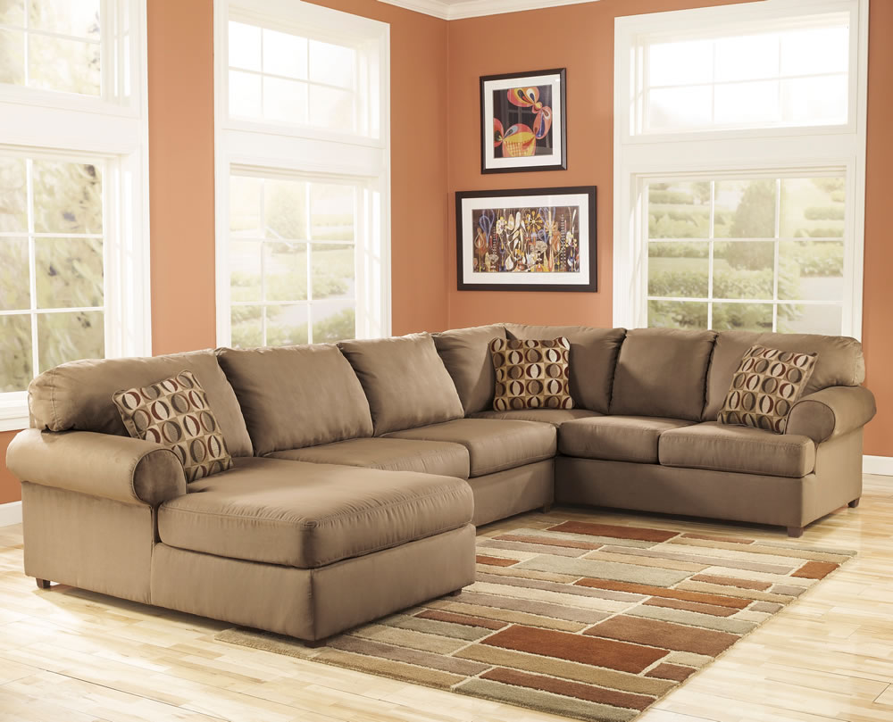 Luxurious Gray Sectional Sofa With Chaise Idea With Patterned Cushiosn On  Brown Plaid Patterned Area Rug