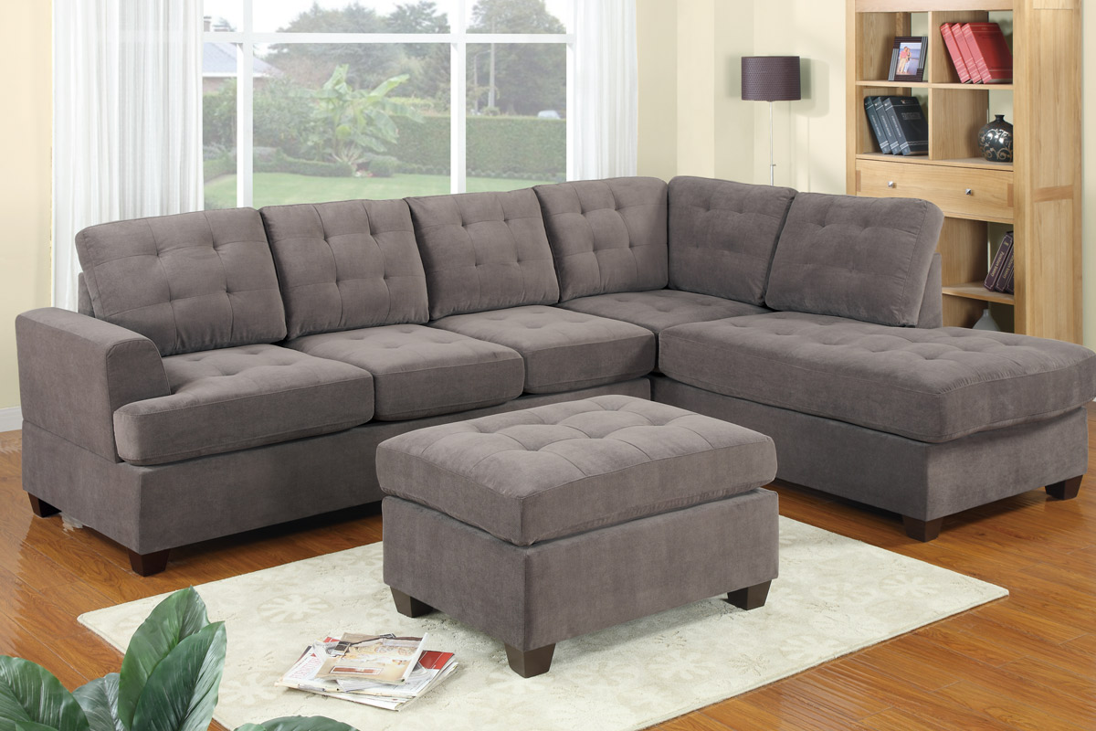 luxurious gray tufted sectional sofa design with pouf coffee table and white rug and wooden floor : living room ideas with sectional - Sectionals, Sofas & Couches