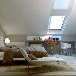 luxurious loft bedroom design with skylight and glass window and creamy bedding and long chaise and corner desk