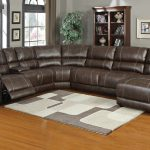 Luxurious Modern Leather Sectional Sofa With Reclining And White Gray Area Rug And Blue Painted Wall And Gray Curtain And Wooden Storage And Wooden Floor