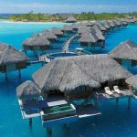 luxurious resort with beautiful view and hut and floating retreat on the ocean with long range