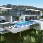 luxurious white modern home on hillside idea with swimming pool and open concept and hovering style