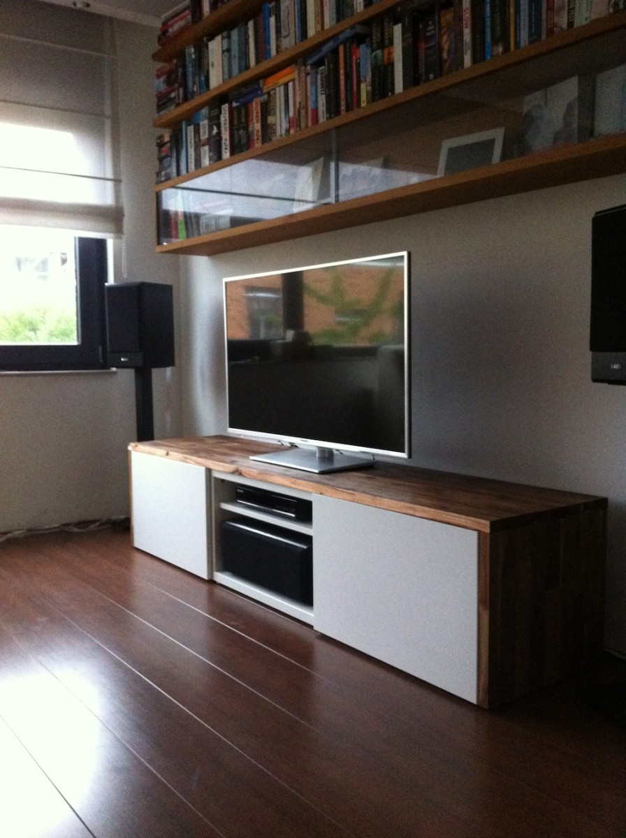 Superbe Minimalist Wooden White Ikea Stereo Cabinet Design Beneath Bookshelves On  Wooden Floor With Glass Window