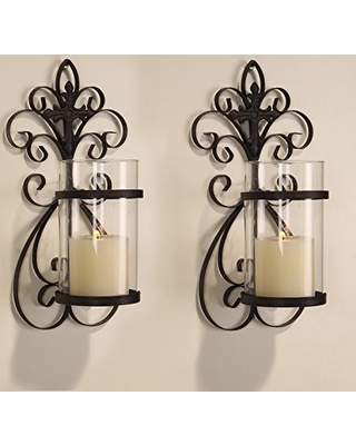 Mirrored Candle Holders Sconce With Adeco Iron With