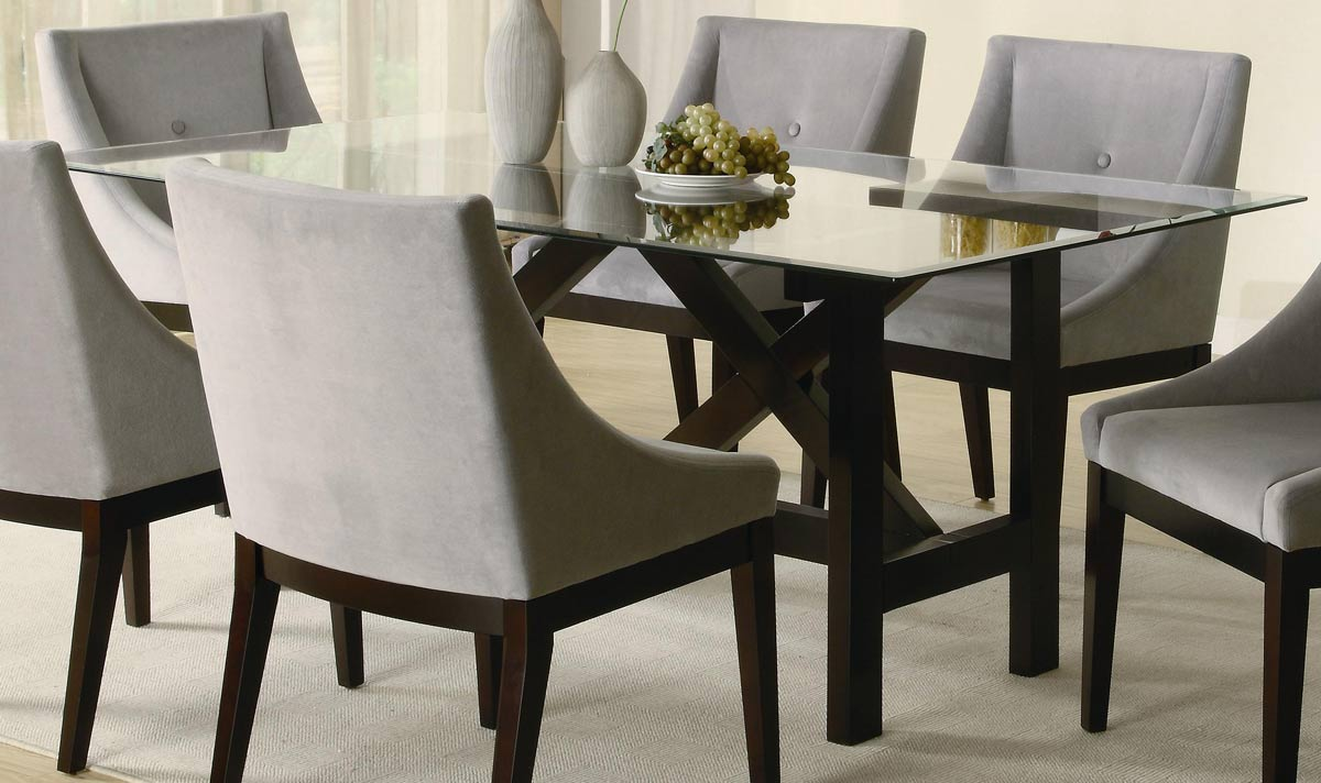 Modern Dining Room Idea With Small Rectangular Table Gl Top And Comfy Chair