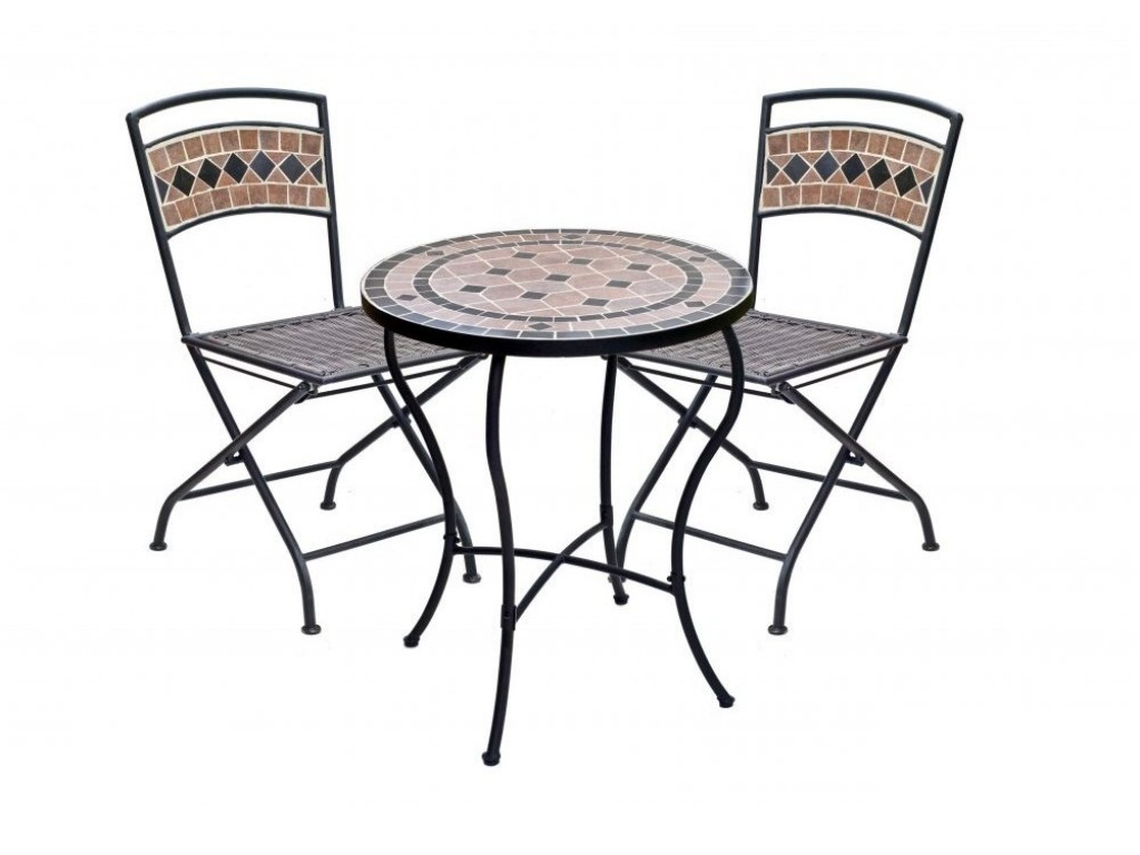 Modern Ikea Bistro Set For Outdoor Use Consiting Of A Round Coffee Table  And Two Folding