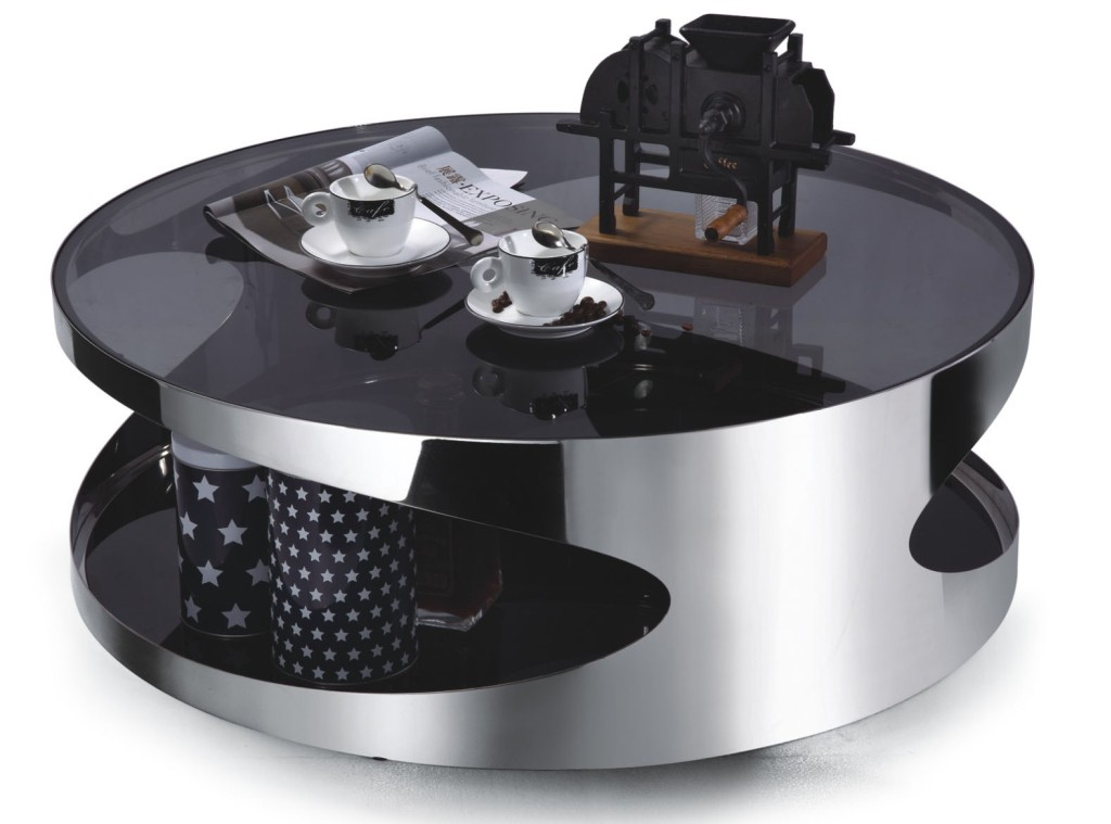 Vast Selections of Oversized Coffee Tables HomesFeed : modern minimalist round coffee table made from stainless steel and glossy black acrylic surface  from homesfeed.com size 1024 x 759 jpeg 97kB