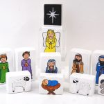 Modern Nativity Set Idea With Block In White Color Painted With The Characters
