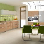 modern soft green white kitchen paint idea with wooden cabinet and green dining set with green chairs and skylight