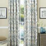 monochrome patterned home garden curtain design with gray wall paint and gray storage and white bench