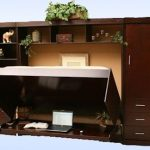 multipurpose-furniture-a-desk-turns-to-bed-with-brown-color-also-laptop-and-book-also-plants-in-the-pots-and-other-decoration