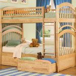 natural vintage beige wooden pics of bunk bed idea with fence boarding and adorable mattress and storage on wooden floor with blue area rug