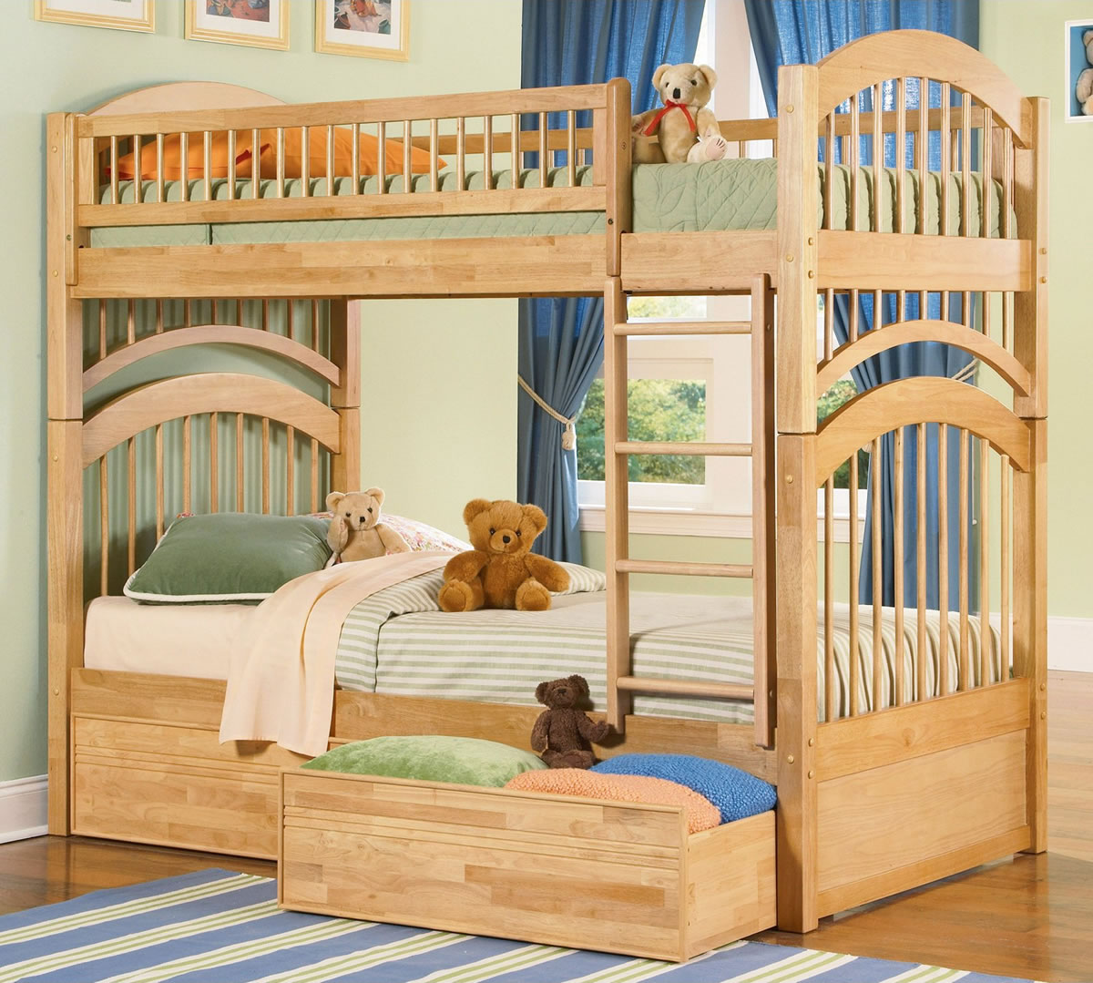 Pics of bunk bed colors and patterns homesfeed for Wooden bunk beds