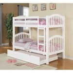 neutral white low profile bunk bed design with purple bolster and area rug and wooden floor with trundle
