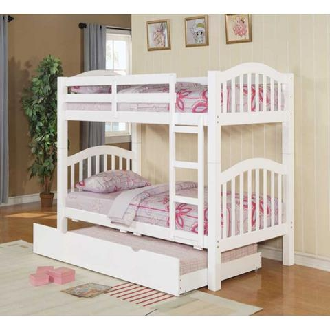 neutral white low profile bunk bed design with purple bolster and area rug and wooden floor