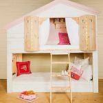 nicce-and-pretty-tree-house-bunk-bed-for-girls-with-ladder-and-painted-in-white-and-pink-on-the-light-wooden-floor-also-white-bed-and-red-pink-and-white-pillows-also-wooden-window