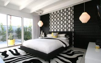 nice-hanging-light-for-bedside-in-modern-style-bedroom-with-black-and-white-theme-also-one-yellow-throw-pillow