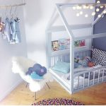 nice-toddler-floor-bed-with-montessori-method-and-frame-house-near-chair-and-hanging-rod-for-clothes-also-white-mattress-and-light-blue-pillow-and-wooden-floor