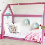 nice-toddler-floor-bed-with-pink-frame-house-in-the-corner-room-with-floating-dollhouses-with-elephant-doll-and-white-pillows
