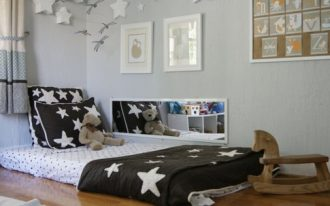 nice-toddler-floor-bed-with-polkadot-and-stars-bed-near-horse-rocking-chair-on-the-wooden-floor-and-mirror-on-the-white-wall