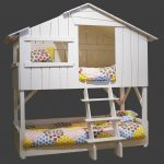 nice-tree-house-bunk-bed-with-ladder-painted-in-white-and-colorful-beds-and-pillows