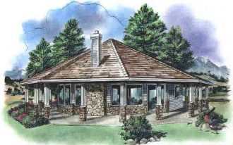 octagon-cabin-plans-with-one-bedroom-and-nature-scenery-also-many-windows-and-a-chimney