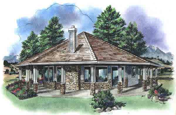 Octagon Cabin Plans With One Bedroom And Nature