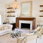 old hollywood glamour decor for glamour living room ideas with white leather sofa and round coffee table with glass top and elegant sideboard plus fireplace