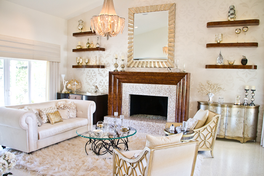 Old Hollywood Glamour Decor For Glamour Living Room Ideas With White Leather Sofa And Round Coffee