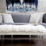 old hollywood glamour decor for living room ideas with grey sofa and white coffee table with furry top and adorable wall plus picture and twig vase