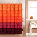 Ombre Ar Deco Shower Curtain Ideas In Orange Pink And Brown Color Aside Vintage White Vaity With Orange Pot And Creamy Wall