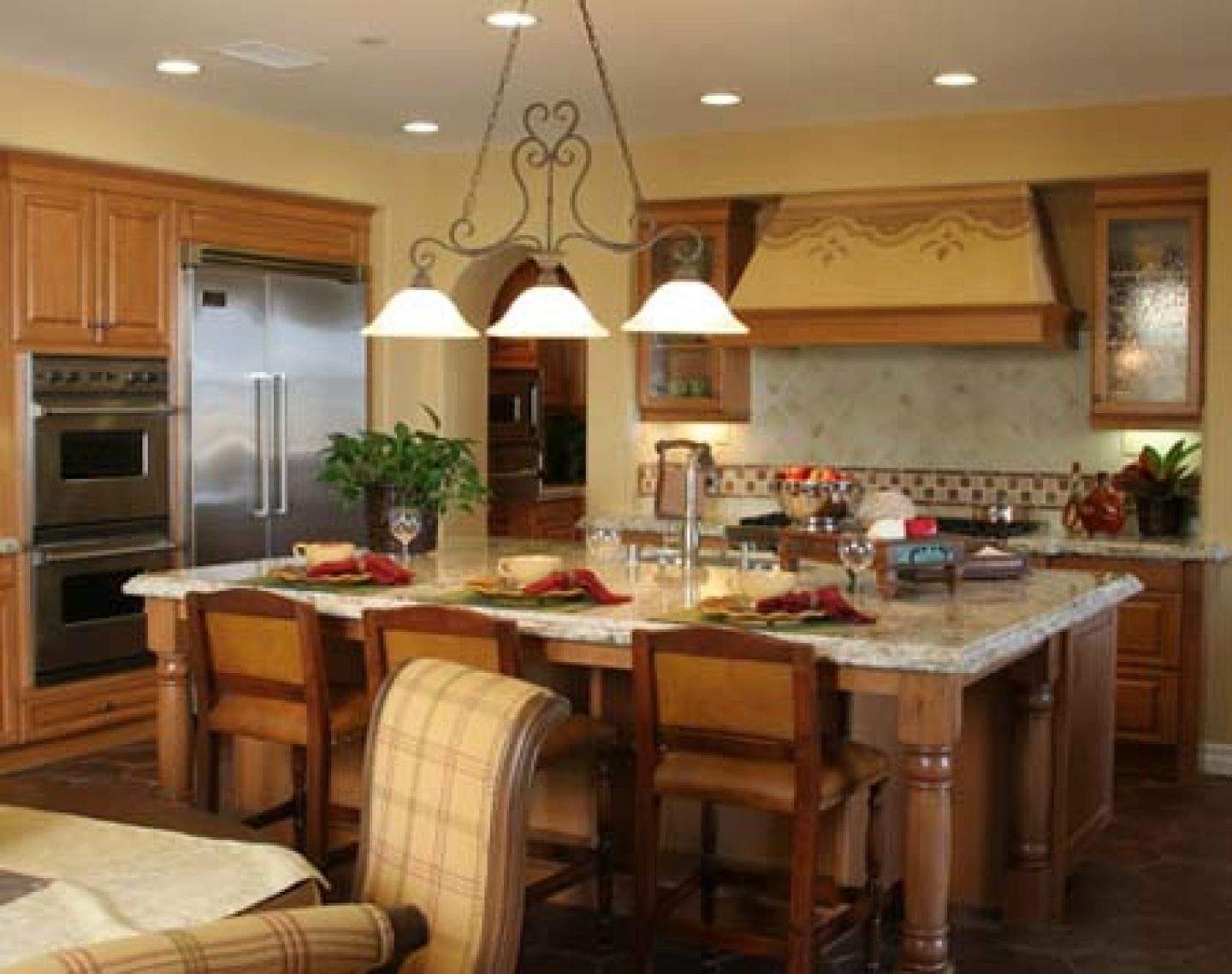 Pendant Lamps Over The Kitchen Island With Brown