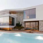 posh white small minimalist house plan with luxurious pool with open concept and architectural
