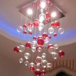 Pouring Down White And Red Cool Hanging Light Idea Beneath Suspended Ceiling With Blue Modern Lighting
