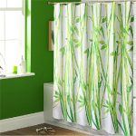 refreshing green nature shower curtain design in green bathroom with boxy tub