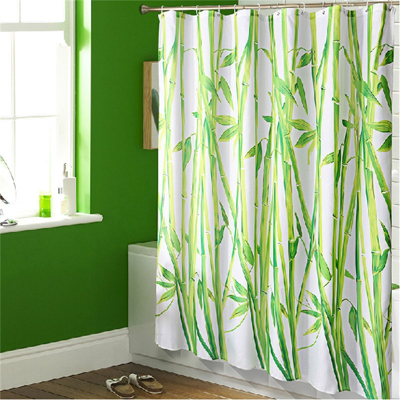 Refreshing Green Nature Shower Curtain Design In Bathroom With Boxy Tub
