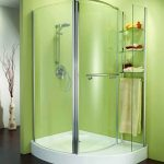 round corner shower units with modern shower and glass storage oustside plus green painted wall