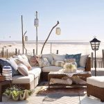 rustic beach home idea with outdoor living space and white seating with diy decoration