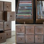 rustic cd storage with 8 drawers featuring wooden handles